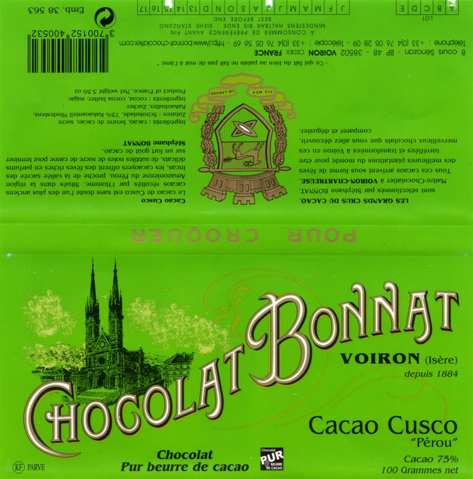 tablette de chocolat noir dégustation bonnat noir cacao cusco
