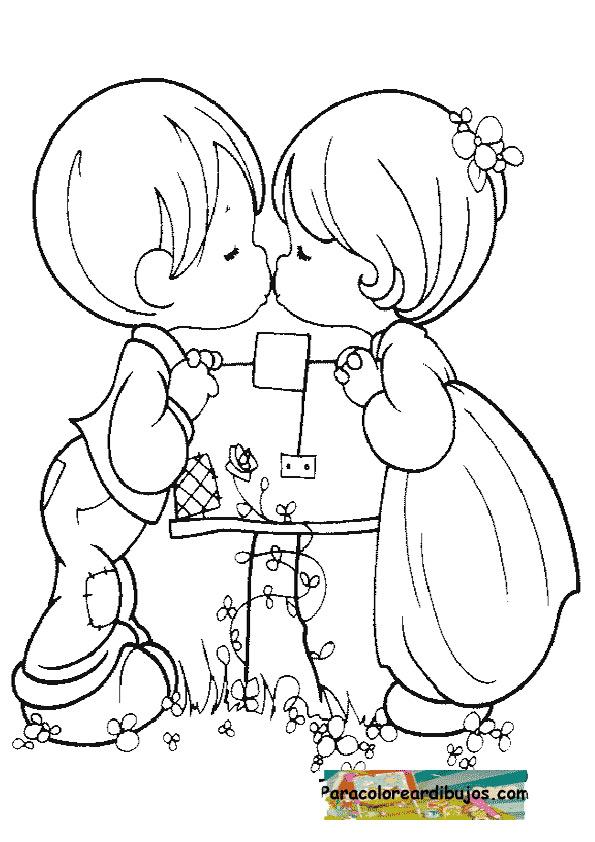 niños dandose un beso para colorear | Para colorear dibujos y dibujos