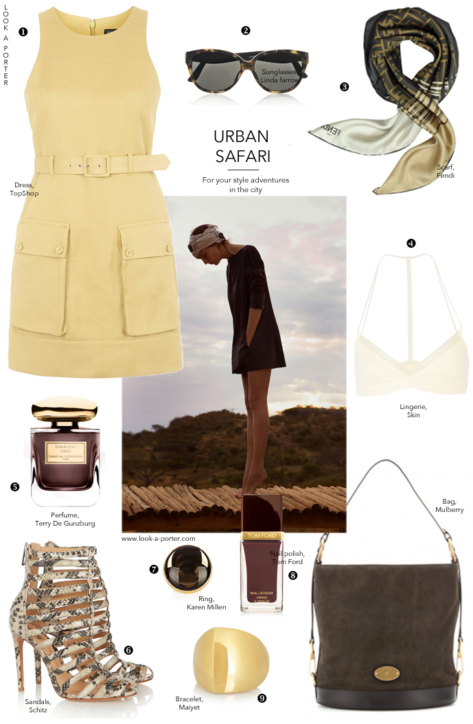 Outfit Inspirations / Style Inspiration / How to style safari trend for the city / utility dress / trends spring/summer 2015 /Daria Werbowy in Maiyet campaign / Topshop, Schutz, Mulberry, Maiyet, Karen Millen, Tom Ford, Fendi, Terry De Gunzburg, Linda Farrow / via look-a-porter.com