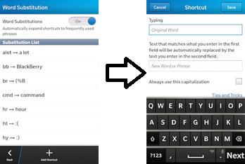 Untuk menambah autoteks pada BlackBerry Z10 kamu, tap Add Shortcut