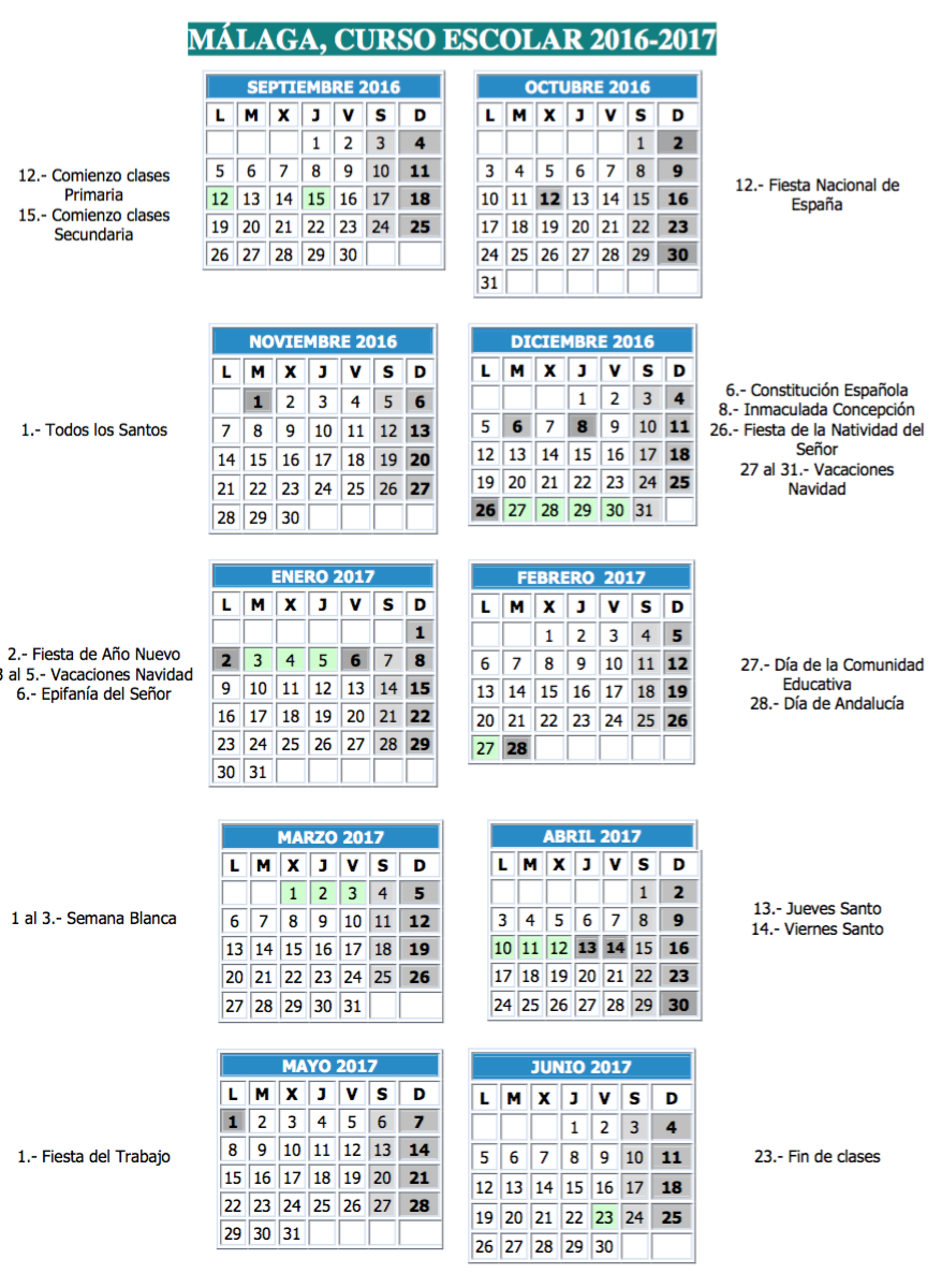 Resultado de imagen de calendario escolar malaga 2016 17