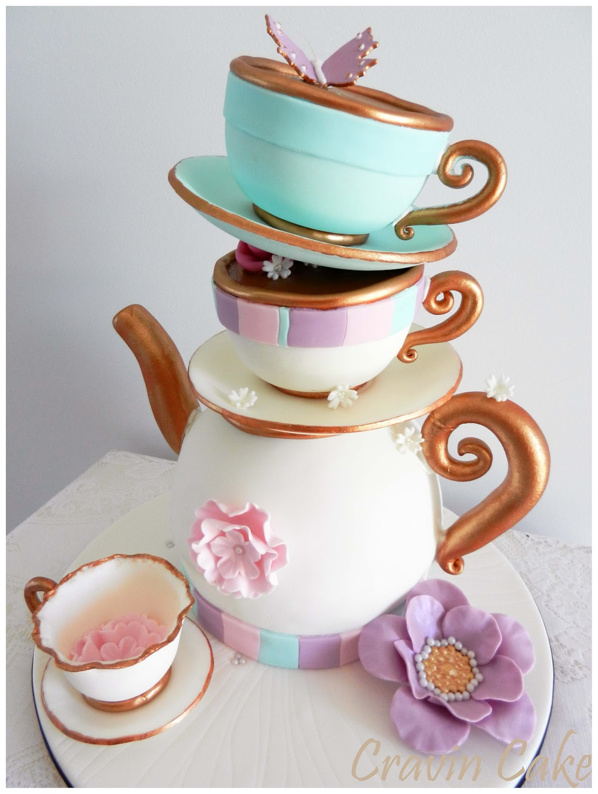 Tea Party Cake Images : Cravin Cake: Tea Party Bridal Shower Cake