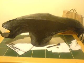 Alien Head Papier Mache painted