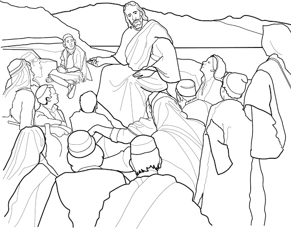 Jesus Sermon On the Mount Coloring Page
