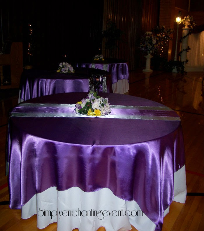Runaway bridal planner wedding decoration pictures brides colors the rest of the room was filled with tables and other lighted decor we used white base linens with victorian lilac overlays then victorian lilac on gray junglespirit Gallery