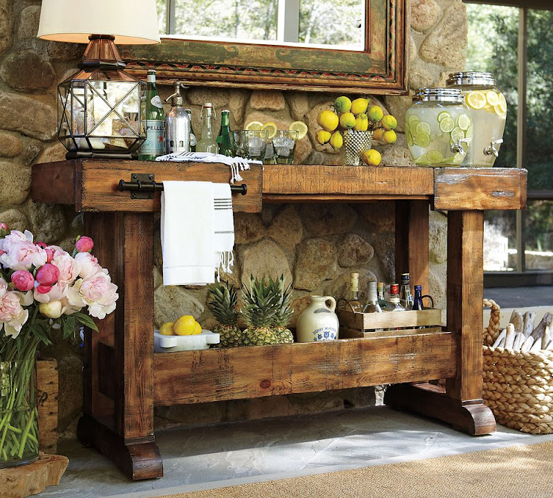 Rustic Outdoor Bar Table with Storage
