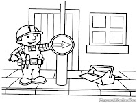 Gambar Bob The Builder Memperbaiki Marka Jalan