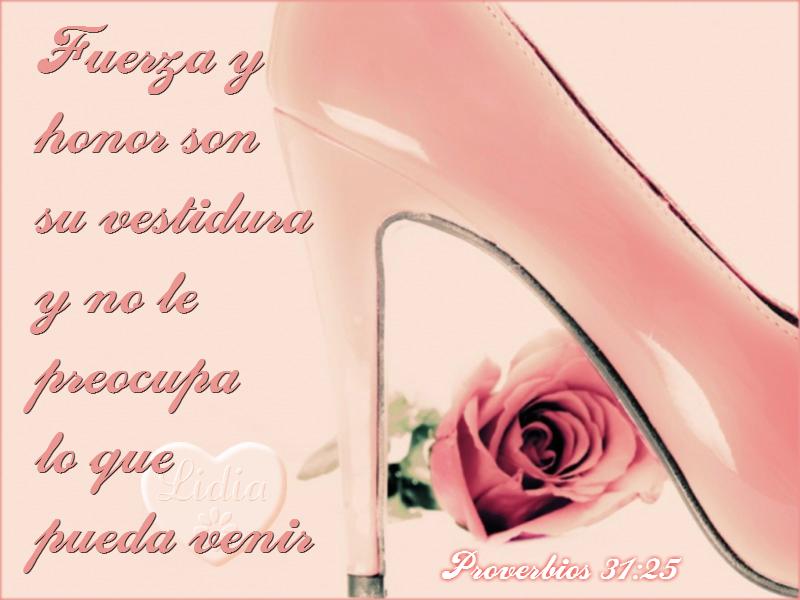 Tarjeta cristiana de mujer virtuosa con tonos rosa