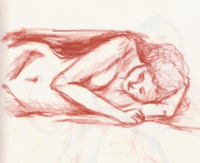 Zeichnung in Rötel: Aktpose Frau, liegend