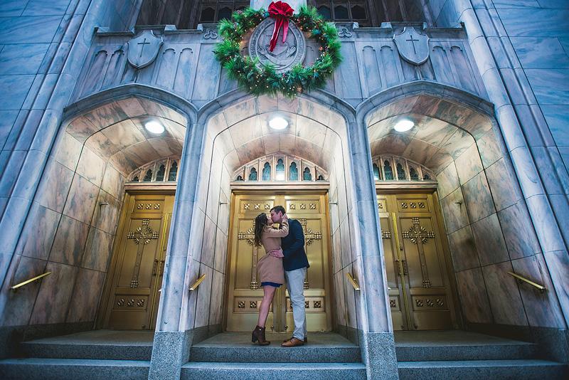 Chicago Christmas Engagement Photo