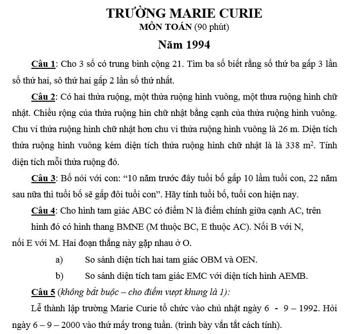 Đáp án đề thi vào lớp 6 trường Merie Curie môn toán  1994 - 1995