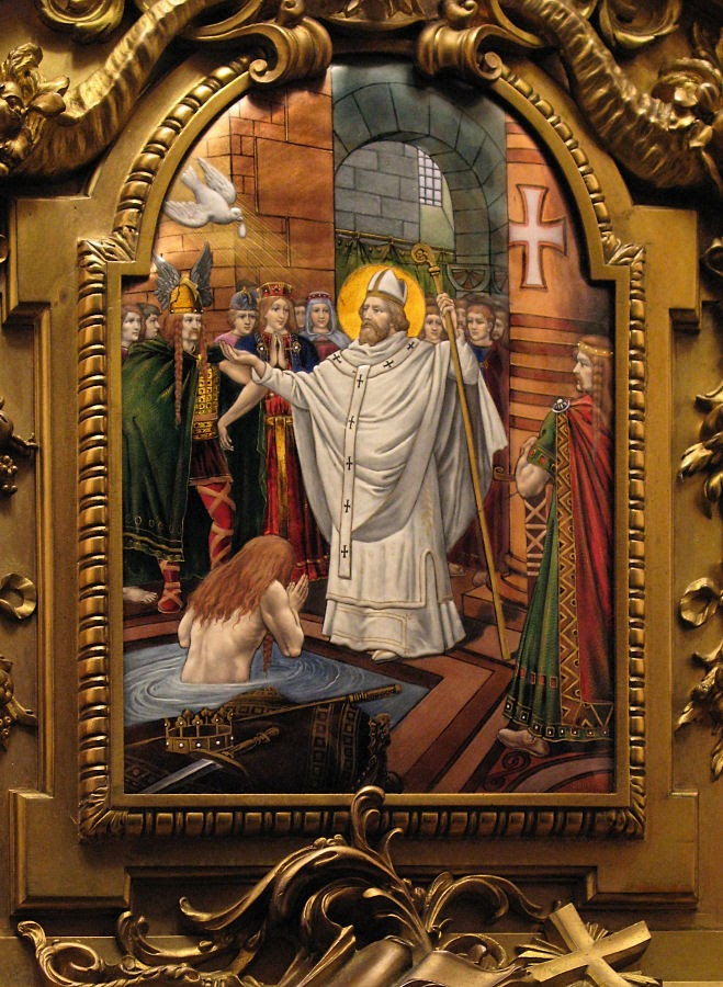 São Remígio, bispo de Reims, batiza Clóvis, rei dos Francos