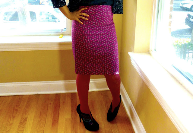 Sequins and African Wax Print Skirt