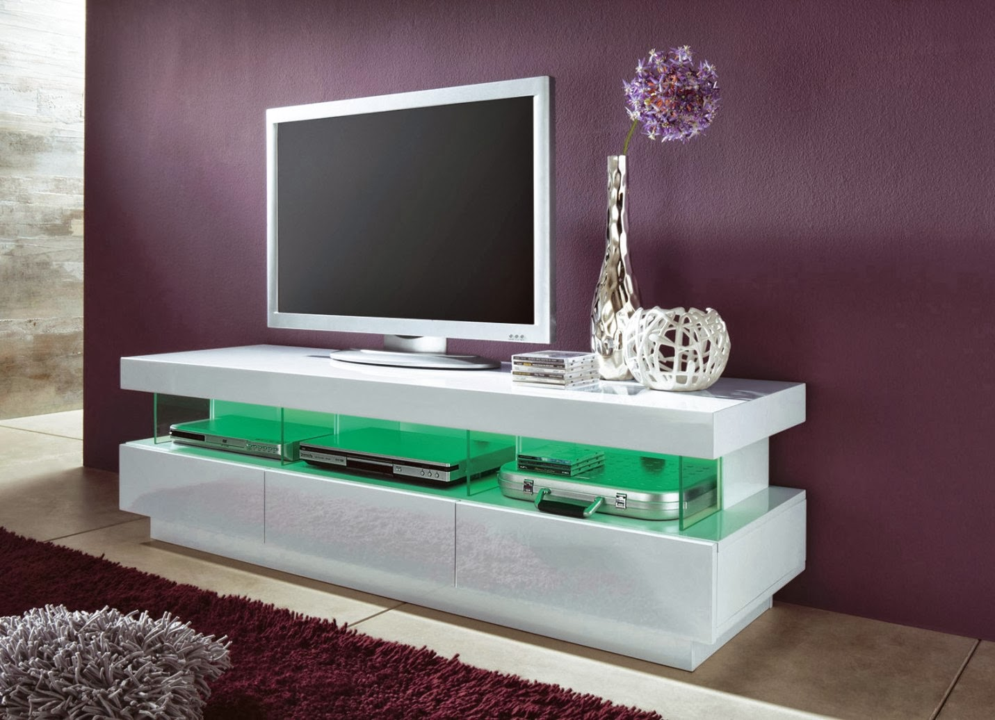 - Meuble tv blanc laque led ...