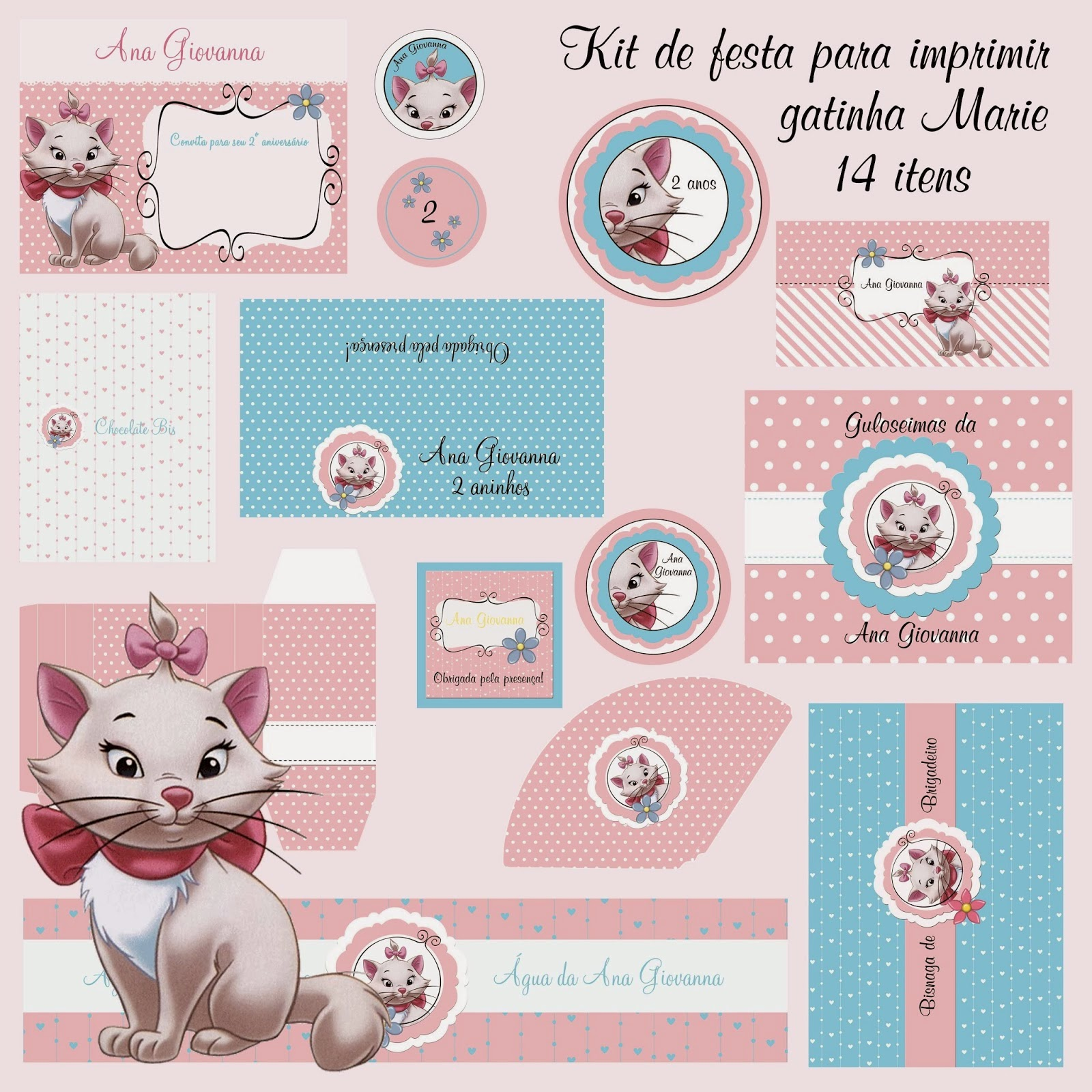 Marie: Cute Free Printable Kit.