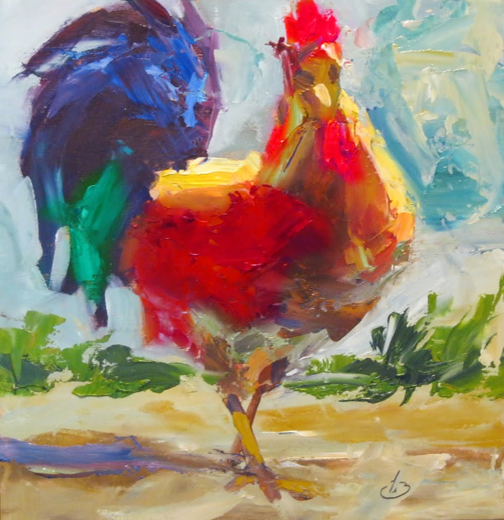 Daily painters of california bids start at 49 rooster for How to start oil painting
