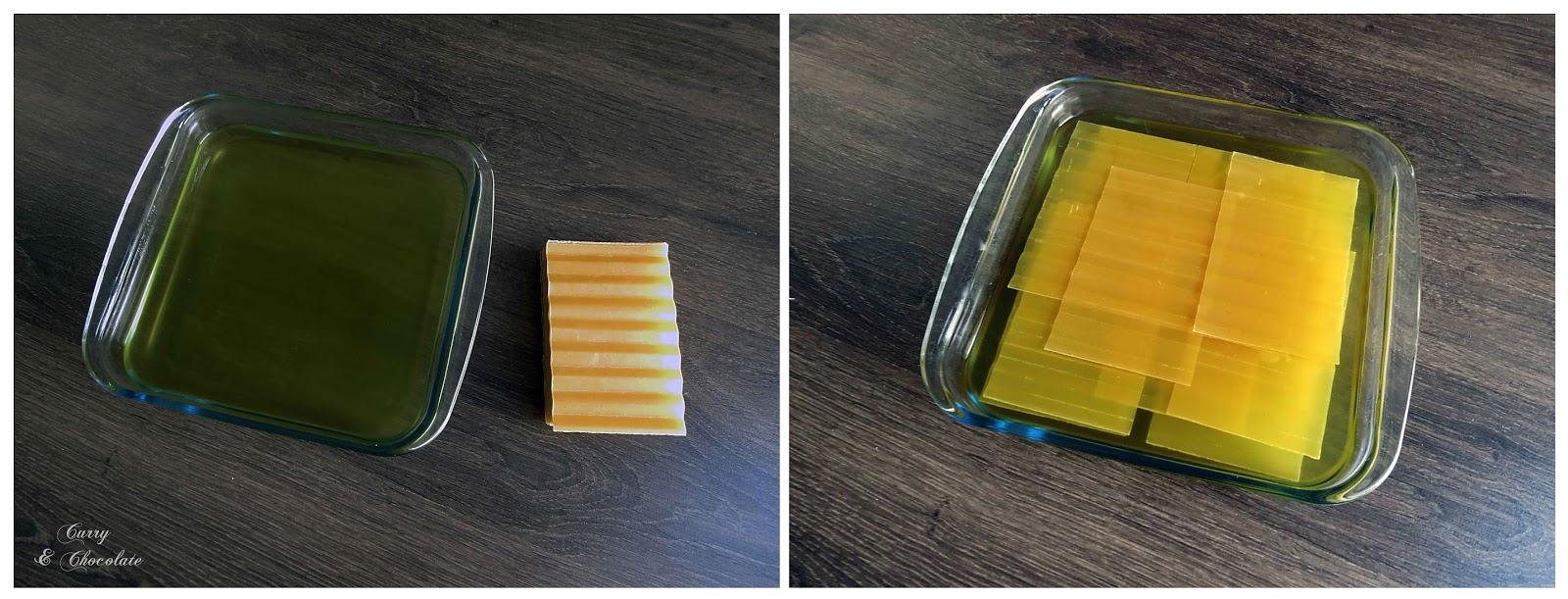 remojando las placas de lasaña