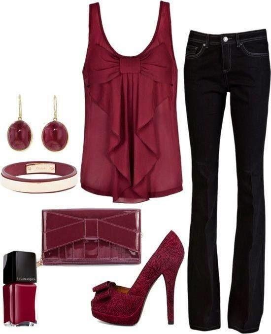 Outfit color vino primavera verano