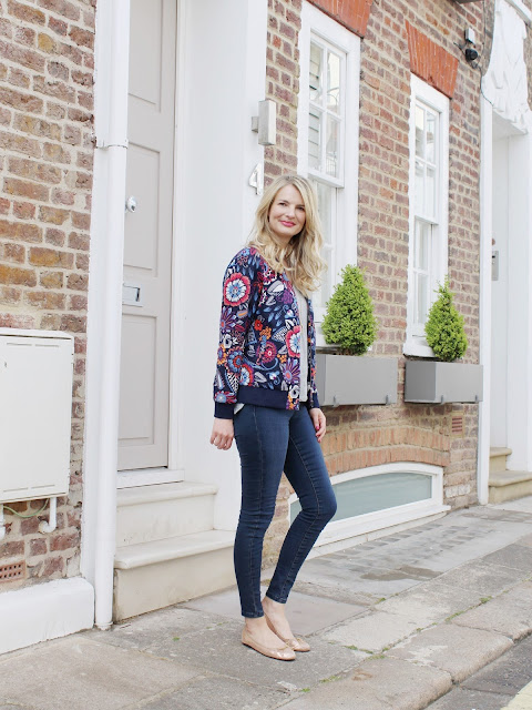 boden bomber jacket, asos jeans, floral print, floral print jacket, french sole ballet flats