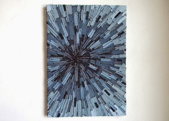 recycled denim sunburst art
