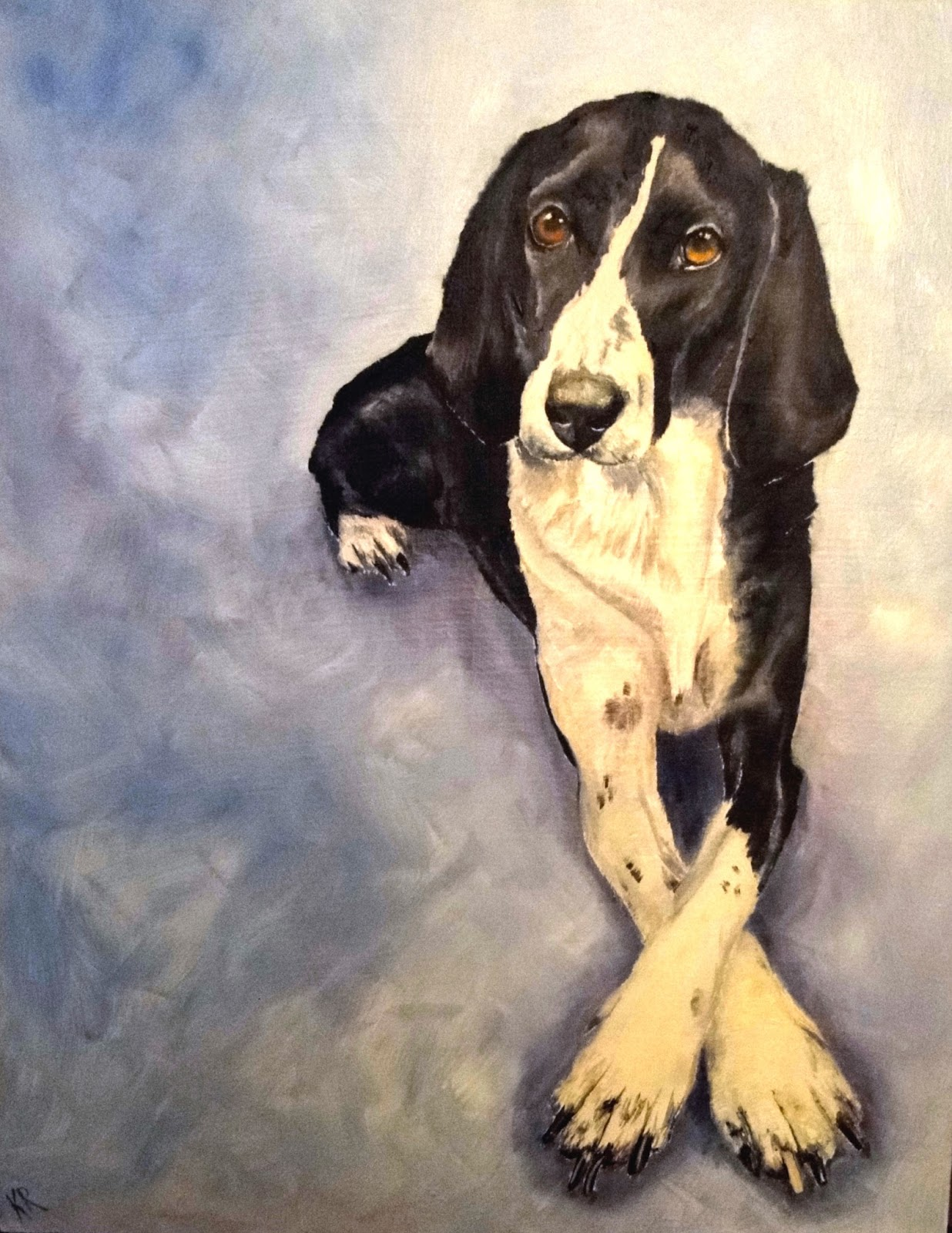 oil painting of an elegant pointer, pet portrait by karen