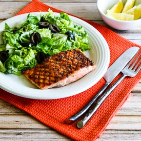 Easy Recipe for Greek Salmon Cooked in a Grill Pan found on KalynsKitchen.com