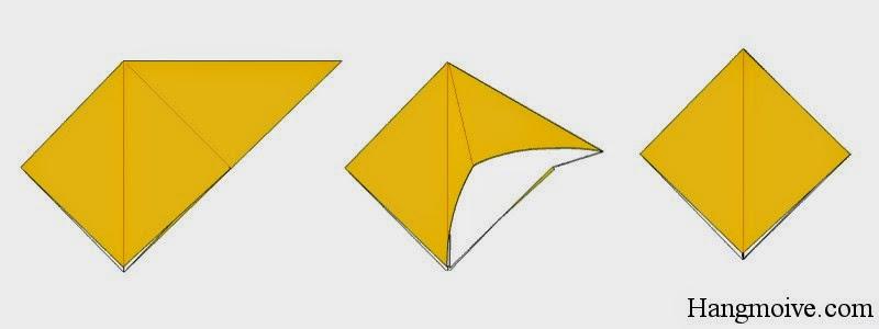 Bước 5: Mở lớp giấy phía trong của tam giác vuông (gồm 2 tam giác cân ghép lại) ra phía ngoài như hình thứ 2 bên dưới để tạo thành một tứ giác.