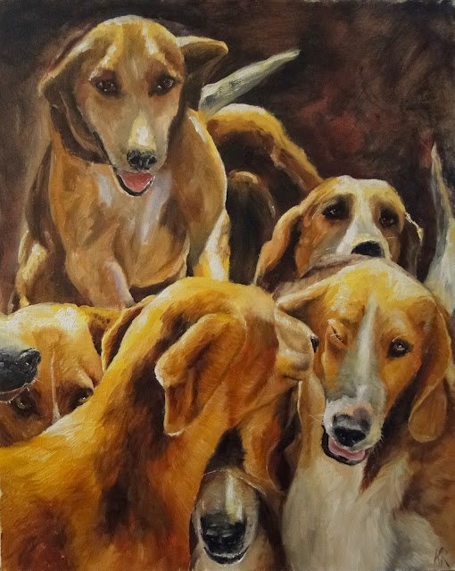 Pack together, oil painting of foxhounds in bright sunshine