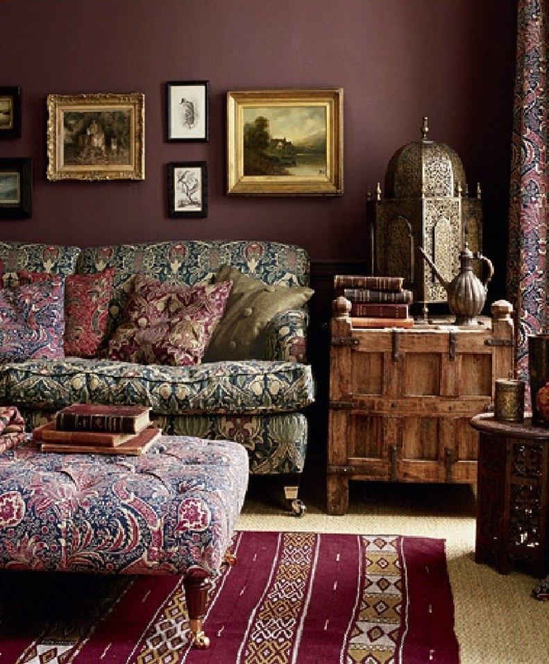 living room exotic bohemian purple ish decor eclectic rooms decorating