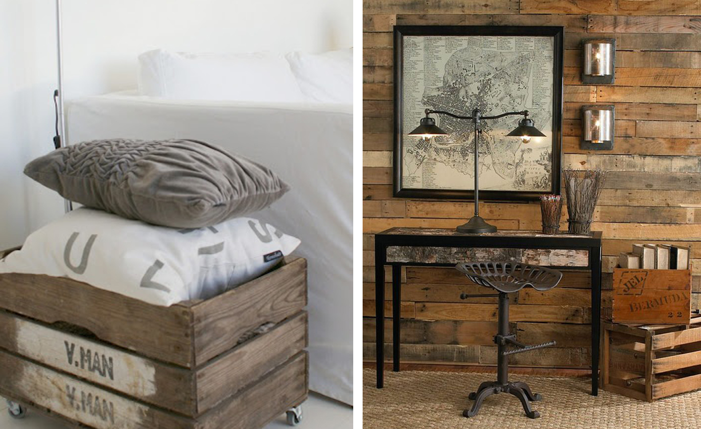Idea and blog decorar con cajas de madera - Como decorar una pared con madera ...