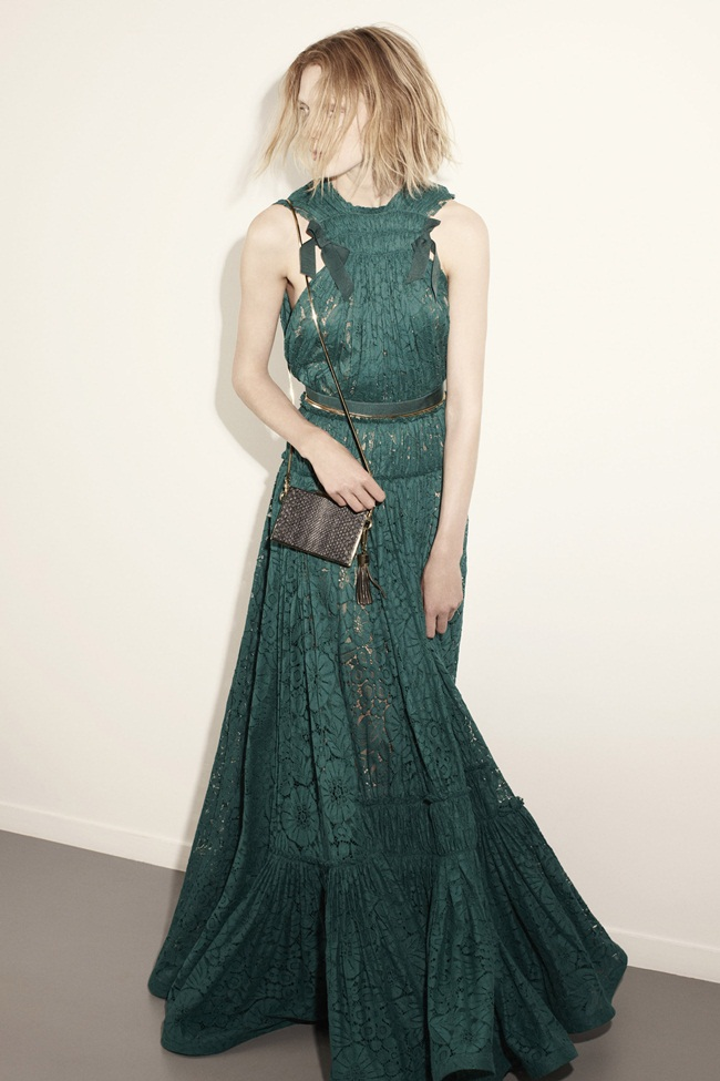 Lanvin Resort 2015 Rich Emerald-Green Lace Gown