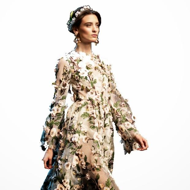 dolce & gabbana primavera estate 2014 abito fiori chiffon rose capelli corona