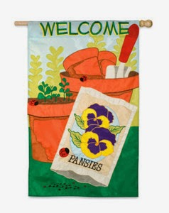 gardening welcome applique house flag