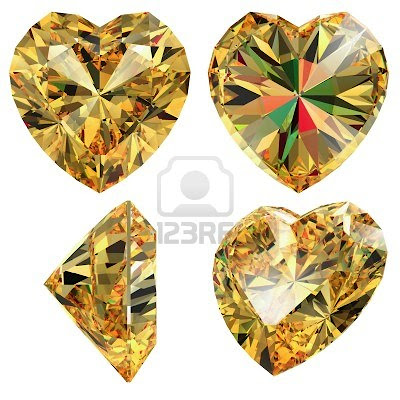 yellow jewellery heart shape isolated different views with refraction