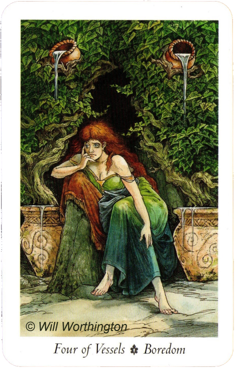 The Wildwood Tarot, Four of Vessels -  Boredom