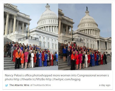 The Atlantic Wire on Twitter: Nancy Pelosi's office photoshopped more women into Congressional women's photo.Split-view of original and altered photos.