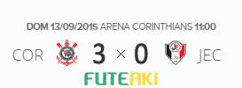O placar de Corinthians 3x0 Joinville pela 25ª rodada do Brasileirão 2015
