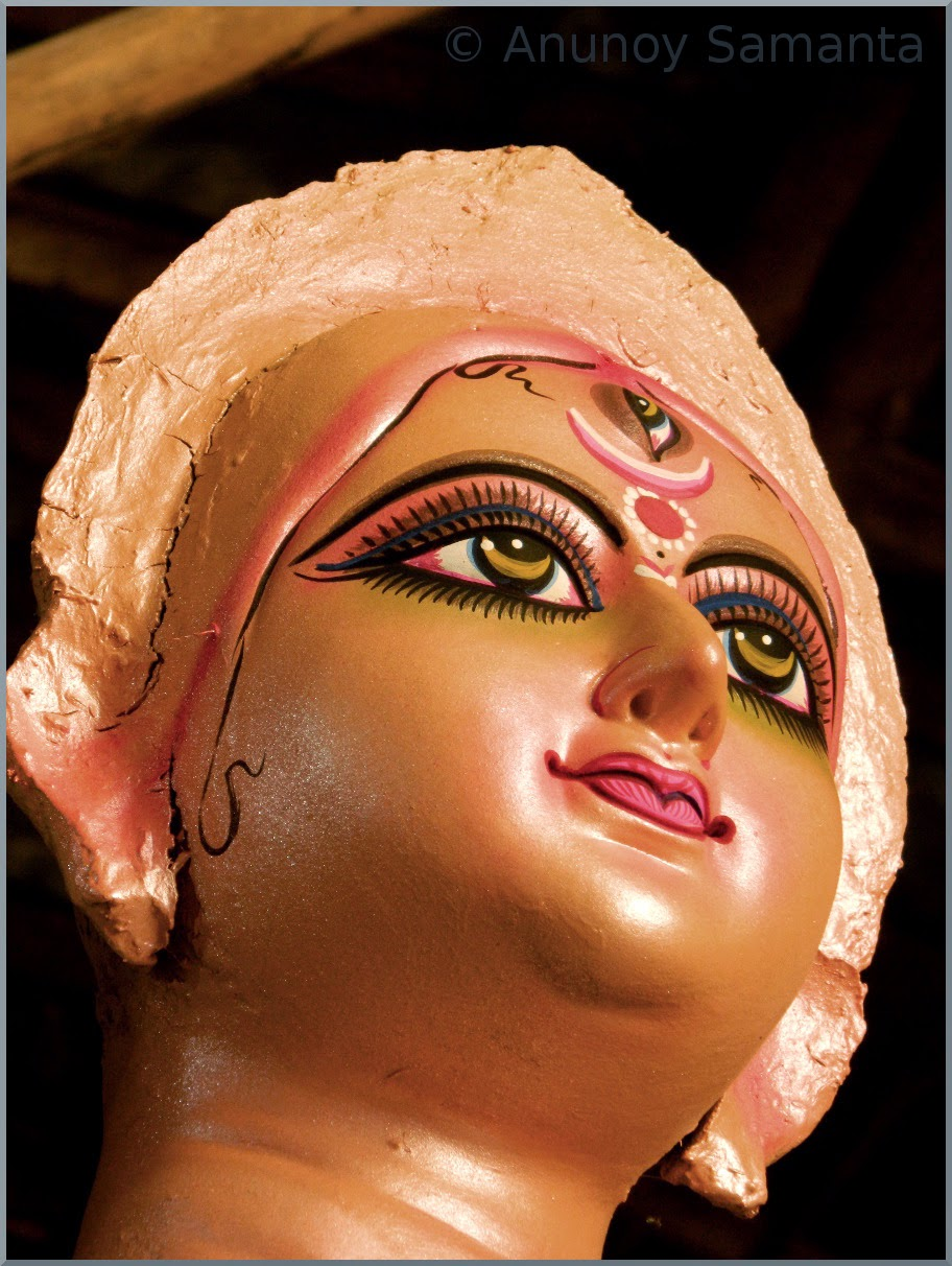 Durga Puja 2014 - Artisans busy in Painting of Idols