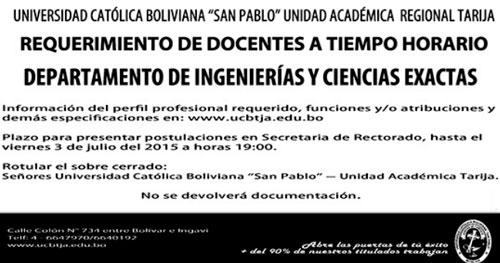 Universidad Católica Boliviana - Tarija requiere docentes a tiempo horario