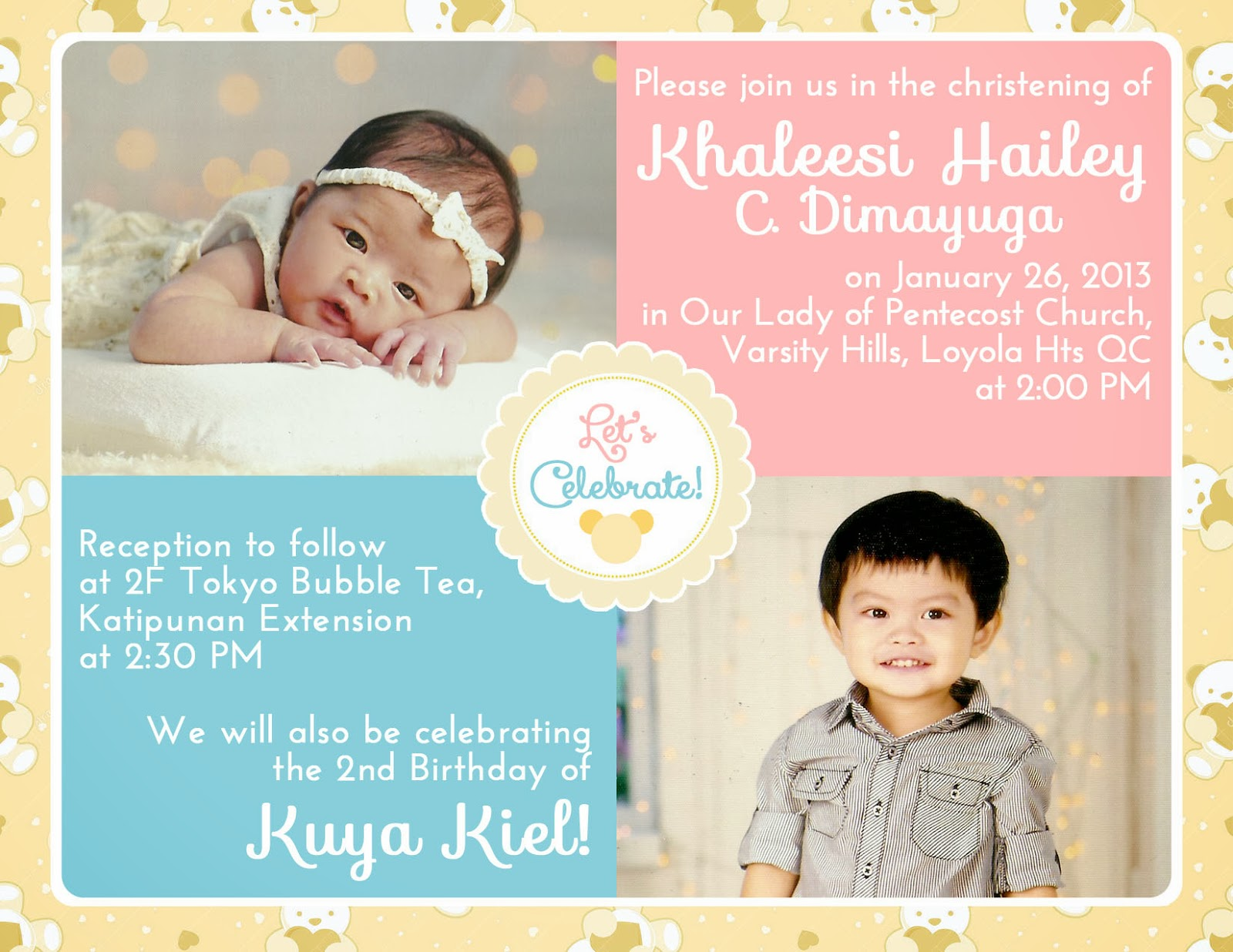 Liques antics planning a double celebration baptism and 2nd teddy bear theme invite in pastel colors pink blue yellow for the kids double celebration shameless plug do visit my portfolio stopboris