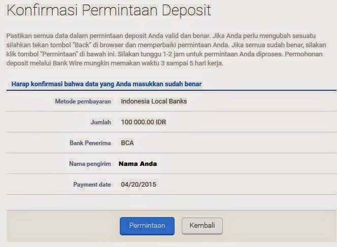 Cara deposit ke forex