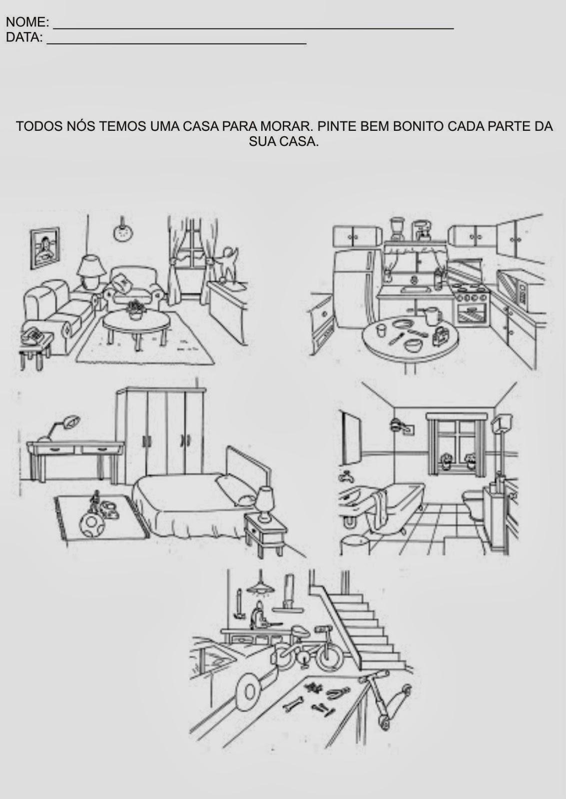 Atividades Educação Infantil - Pinte as partes da sua casa