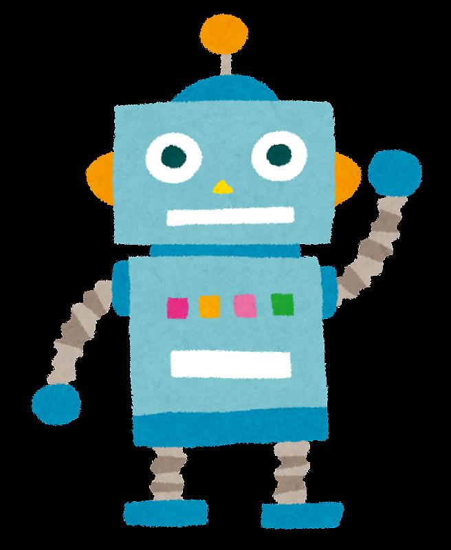 いろいろな色のオモチャのロボットのイラスト