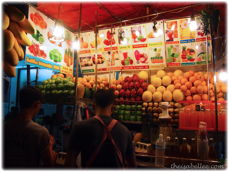 Smoothies made from fresh fruits at Khao San Road Thailand
