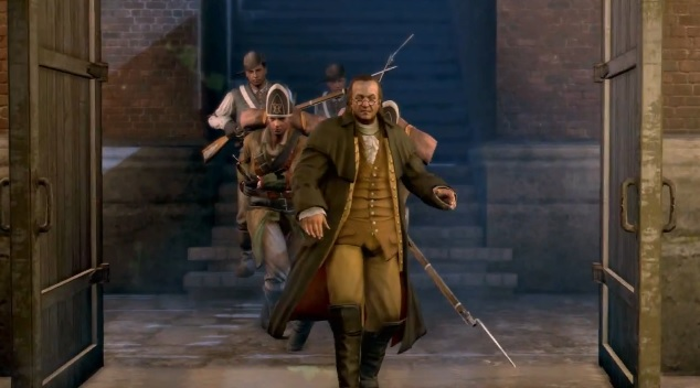 Benjamin Franklin followed by soldiers in Assassin's Creed 3 - The Tyranny of King Washington: The Betrayal