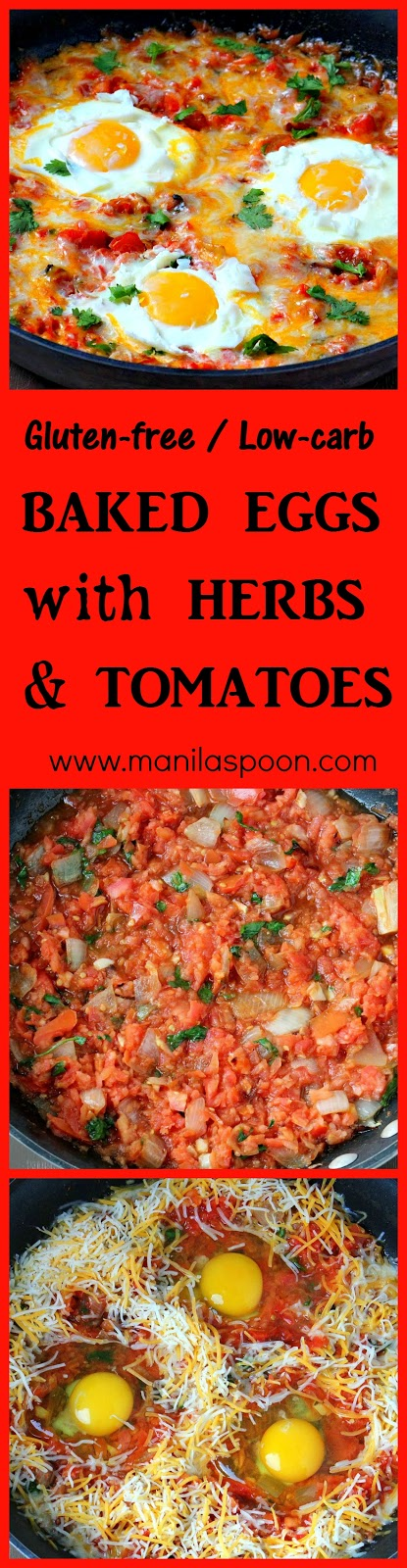 For a protein-packed, healthy and delicious breakfast - this BAKED HERBS with HERBS & TOMATOES has it all. So YUMMY, gluten-free and low-carb, too!