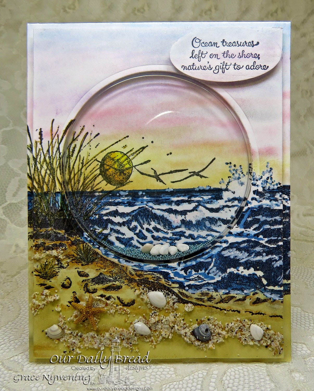 ODBD stamps: The Mighty Sea, Ocean Treasures, designed by Grace Nywening