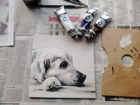 Eerste laag olieverfschilderij van een labrador; olieverf van gogh op canvasbord