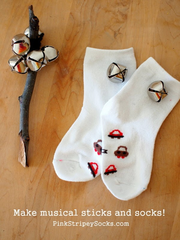 make jingle sticks and add bells to socks