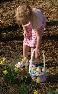 girl on Easter egg hunt